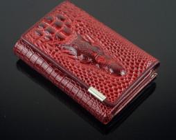 Dámska kožená peňaženka s 3D krokodílim vzorom (8)