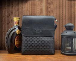 Kožená taška cez rameno POLO pre pánov v čiernej farbe (1)