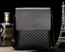 Pánska kožená taška cez rameno POLO v čiernej farbe (1)