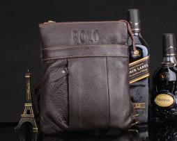 Unisex kožená taška cez rameno POLO v hnedej farbe (1)