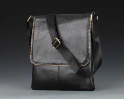Unisex kožená taška cez rameno v čiernej farbe (7)