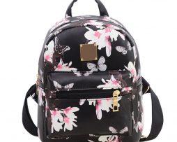 Dámsky kvetinový kožený ruksak s potlačou v čiernej farbe3