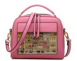 Dámska kabelka s obrázkovým vzorom v ružovej farbe