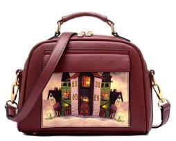 Dámska mini kabelka s obrázkovým vzorom v červenej farbe