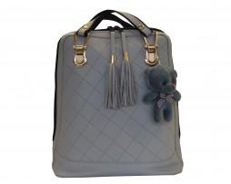 Kožený ruksak z pravej hovädzej kože s plyšovým medvedíkom