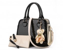 Kožená moderná kabelka s medvedíkom v elegantnom štýle vo farbách + púzdro (2)