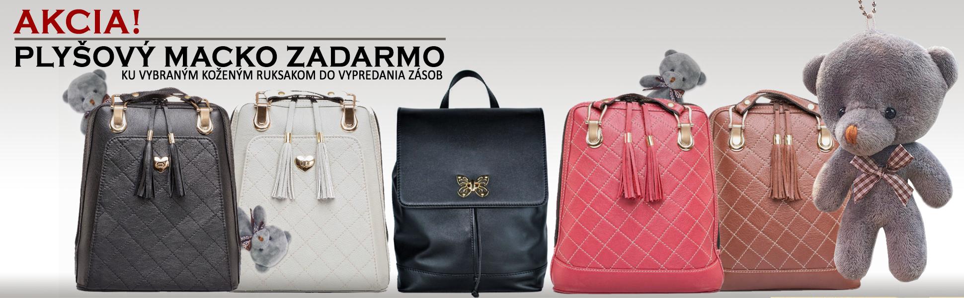 Ku koženým ruksakom plyšový macko zadarmo, akcia na kožené ruksaky a batohy