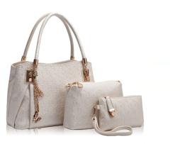 Luxusný dámsky set - kabelka, etuja a peňaženka v bielej farbe