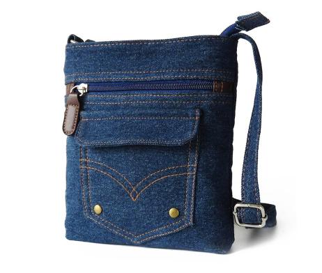Dámska riflová taška v podobe jeanov so zipsom. Taška obsahuje nastaviteľný popruh z rifloviny. Taška je v štýlovom dizajne v podobe riflý (jeanov)4