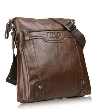 Kožená luxusná unisex taška cez rameno POLO v khaki farbe (3)