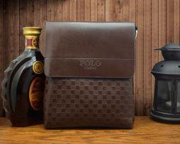 Kožená taška cez rameno POLO pre pánov v hnedej farbe (1)
