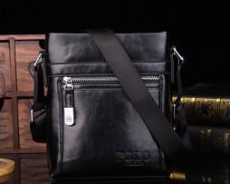Kožená lesklá taška cez rameno POLO pre pánov v čiernej farbe
