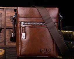 Kožená lesklá taška cez rameno POLO pre pánov v hnedej farbe