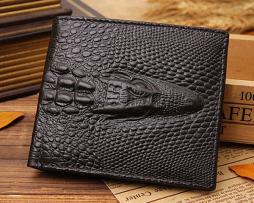 Kvalitná pánska kožená peňaženka v štýle 3D krokodíla v čiernej farbe, horizontálna  (6)