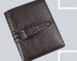 Kvalitná pánska kožená peňaženka v štýle 3D krokodíla v hnedej farbe, vertikálna