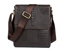 Pánska kožená taška cez rameno s motívom krokodíla v tmavo hnedej farbe