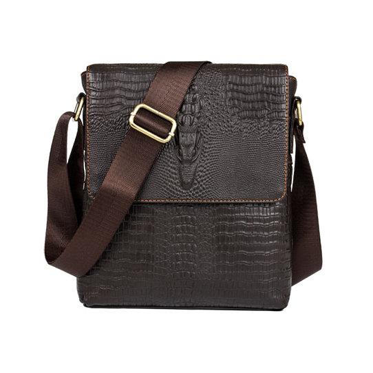 3c25f25e8349 Pánska kožená taška cez rameno s motívom krokodíla v tmavo hnedej farbe