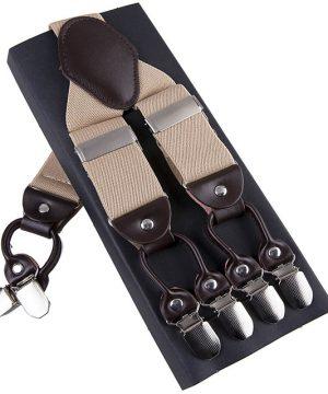 Pánske kožené traky s elastickým pásom v bežovej farbe