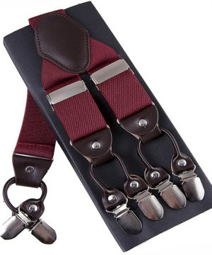 Pánske kožené traky s elastickým pásom v červenej farbe