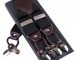 Pánske kožené traky s elastickým pásom v čiernej farbe
