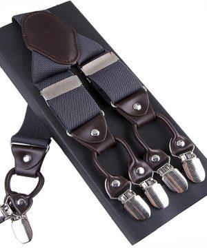 Pánske kožené traky s elastickým pásom v šedej farbe