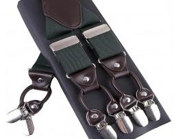 Pánske kožené traky s elastickým pásom v zelenej farbe