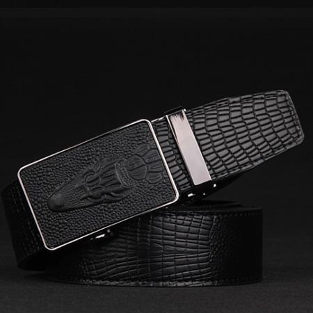 Pánsky opasok KROKODÍL z čiernej kože s automatickou prackou1