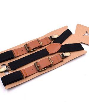 Retro detské nastaviteľné traky s elastickým pásom v čiernej farbe
