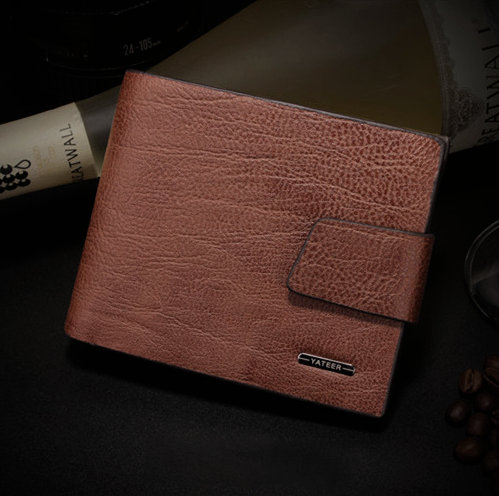 Elegantná pánska kožená peňaženka Yateer zo syntetickej kože v hnedej farbe
