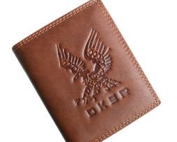 Umelecká pánska kožená peňaženka s motívom Orla, vertikálna