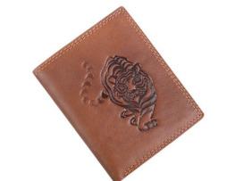 Umelecká pánska kožená peňaženka s motívom tigra, vertikálna2