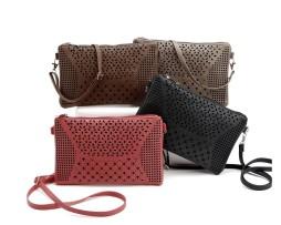 Dámska kožená taška na zips s dekoračným povrchom1