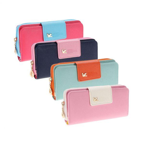 Dámska módna peňaženka v prestrých farbách. Peňaženka je vyrobená z polyesteru