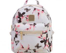 Dámsky kvetinový kožený ruksak s potlačou v bielej farbe