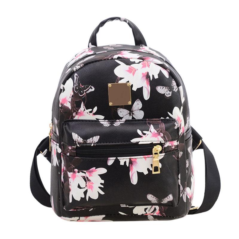 64eaf2c9df7a Dámsky kvetinový ruksak s potlačou v čiernej farbe