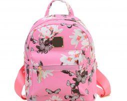 Dámsky kvetinový kožený ruksak s potlačou v ružovej farbe 3