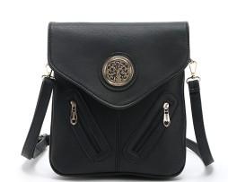 Dámska luxusná kožená taška s motívom strom života v čiernej farbe (14)