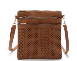Dámska luxusná kožená taška so zipsami (7)