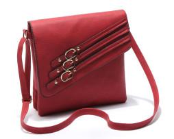 Dámska moderná kožená taška s remienkami v červenej farbe