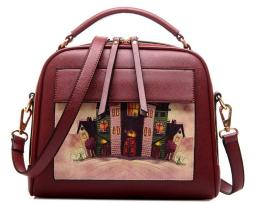 Dámska kabelka s obrázkovým vzorom v červenej farbe