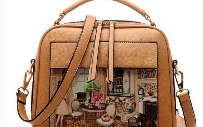 aeef9c8c1121 Dámska kabelka s obrázkovým vzorom v hnedej farbe