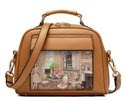 Dámska mini kabelka s obrázkovým vzorom v hnedej farbe