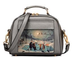Dámska mini kabelka s obrázkovým vzorom v striebornej farbe