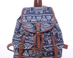 Dámsky plátený ruksak s vreckami s motívom modrých slonov