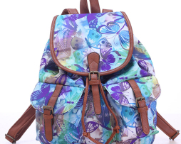 Dámsky plátený ruksak s vreckami s motívom motýľov