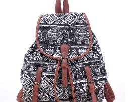 Dámsky plátený ruksak s vreckami s motívom slonov