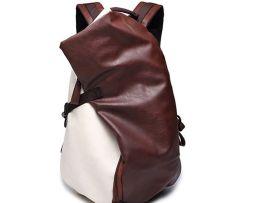 Unisex módny ruksak z kože v hnedej farbe (2)