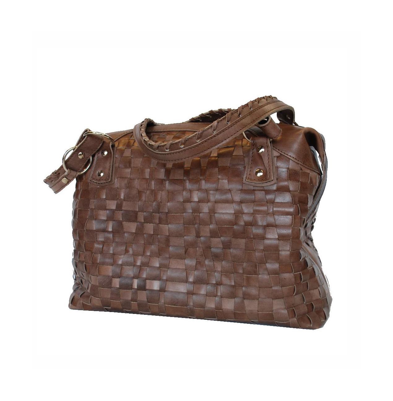 Atraktívna tkaná kožená kabelka č. 8638 v hnedej farbe  e85d41bdfec