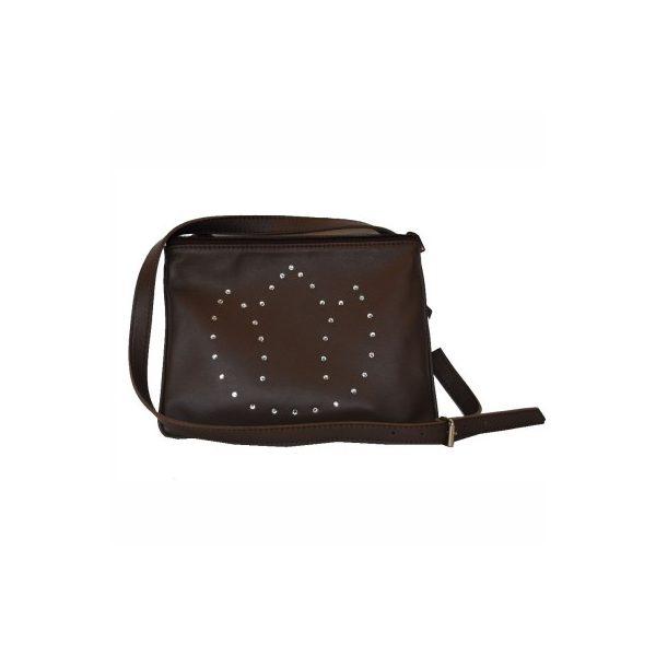 9a4064da6c Exkluzívna kožená mini kabelka č.8628 s rakúskymi kryštálmi v hnedej ...