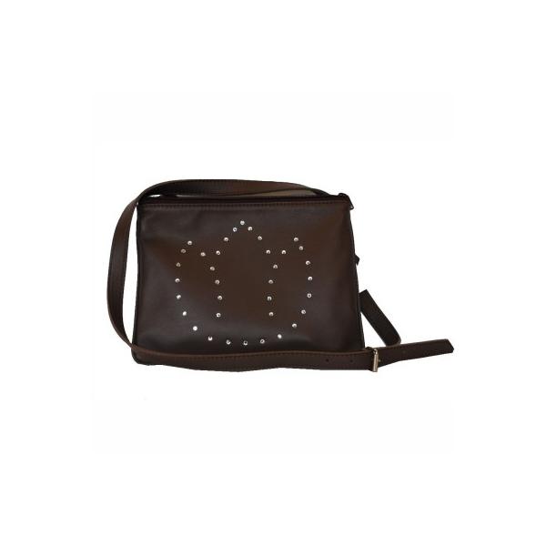 Exkluzívna kožená mini kabelka č.8628 s rakúskymi kryštálmi v hnedej ... 7f5a4b9e74f
